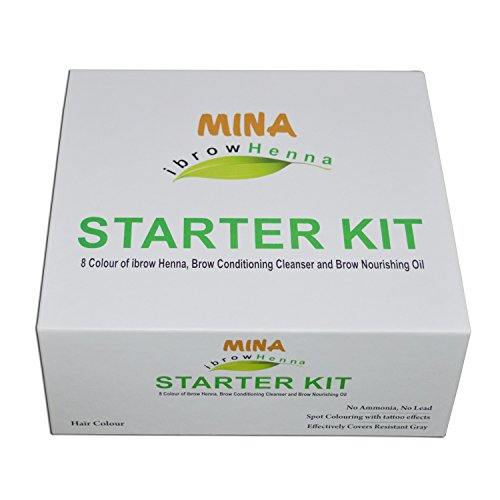 MINA Eye Brow Henna Starter Kit (8 Colors of Eye Brow Henna, Brow Conditioning Cleanser & Brow Nourishing Oil)