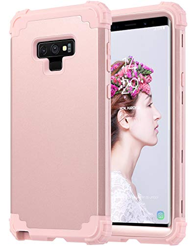 ULAK Galaxy Note 9 Case Heavy Duty Protection Hybrid Soft Silicone Hard PC Rugged Bumper Shockproof Anti Slip Protective Cover for Samsung Galaxy Note 9, Rose Gold