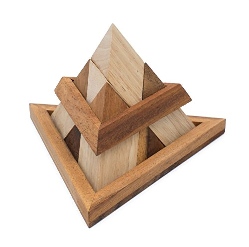 Triangle Pyramid: Handmade Challenging STEM 3D Brain Teaser Wooden Puzzle for Adults from SiamMandalay with SM Gift ()