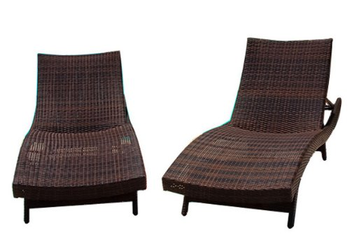 Best-selling 2 Outdoor Adjustable Lounges with 3 Wicker Nesting Tables (Chair Aluminum Nesting)