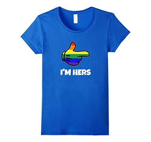 Gay Pride Outfit Ideas (Womens Lesbian PRIDE Matching I'm Hers T-Shirt LGBT Tee Large Royal Blue)