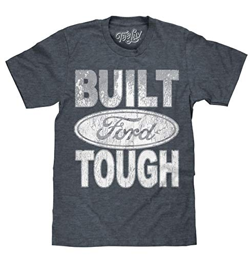 Tee Luv Built Ford Tough T-Shirt - Distressed Ford Logo Shirt (XXX-Large) Heather Blue Built Ford Tough Logo