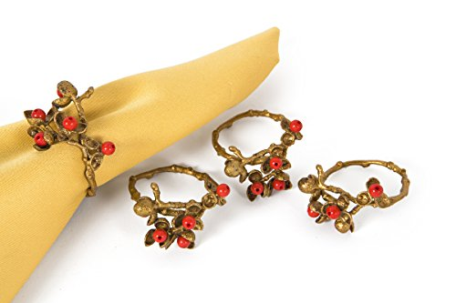 Resin Holly - Manor Luxe Holly Berry Holiday Painted Brass Metal with Resin Berry Napkin Rings, Set of 4