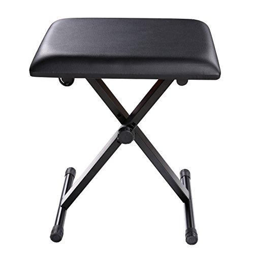 Gracelove Adjustable Piano Keyboard Bench Leather Padded Seat Folding Stool Chair (Black)