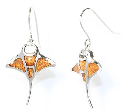 Sterling Silver Koa Wood Manta Ray Hook/Dangle Earrings
