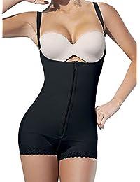 Camellias Womens Seamless Firm Control Shapewear Faja Open Bust Bodysuit Body Shaper Black