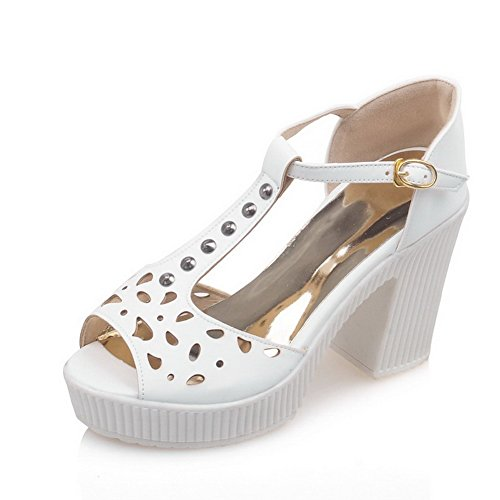Peep Buckle AgooLar Solid Sandals Heels White Women's Toe High YnUOqFf5U