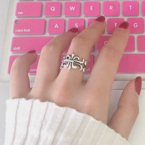 Thai Students Pure Silver Ring Women Girls Retro Influx People Personality Trend Woman Gift Opening Tail Ring Finger Joints (Grand Cross ()