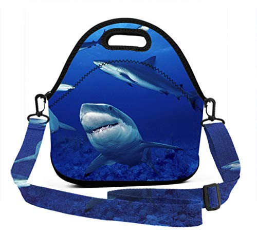 Compact Zipper Lunch Bag Insulated Lunch Box - Shark Swim Blue Ocean - Meal Prep Lunch Box Food Containers For Men Women Adults Kids Children, Picnic School Work -