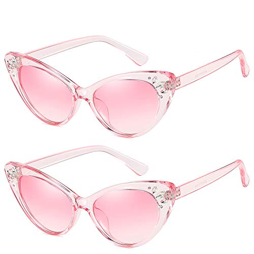 Retro Vintage Cat Eye Sunglasses for Women with Rhinestones UV Protection(Pink Frame/Gradient Pink (Pink Rhinestone Reading Glasses)