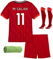 2022 Soccer Kit Kids Football Short Sleeve Tops, Shorts,Socks,Towel,4in1 Gift Set,Color Red
