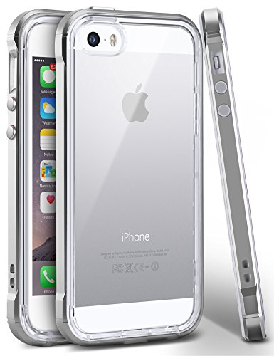 iPhone SE Case, Ansiwee Reinforced PC Frame & Highly Durable Crystal Slim Shock-Absorption Flexible Soft Rubber TPU Bumper Hybrid Protective Case for Apple iPhone SE / iPhone 5s & 5 (Gray)