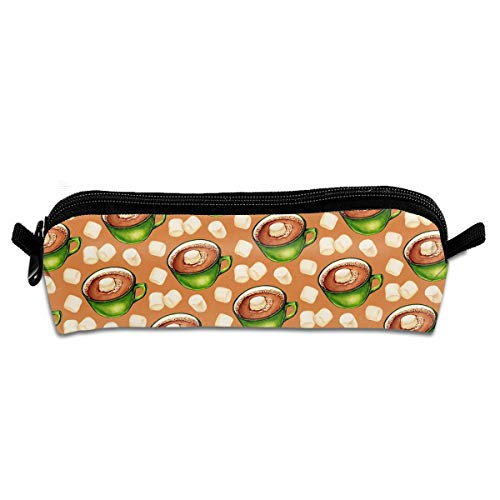 TDynasty Hot Cocoa Pattern Pencil Bag Makeup Pouch Cosmetics BagStylish Small Pen Pouch with Pen Bag Zipper Gifts for School Office ()
