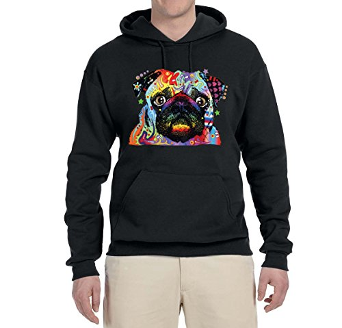 Hoodie Pug (Wild Bobby Colorful Rainbow Pug | Mens Animal Lover Hooded Sweatshirt Graphic Hoodie, Black, Large)