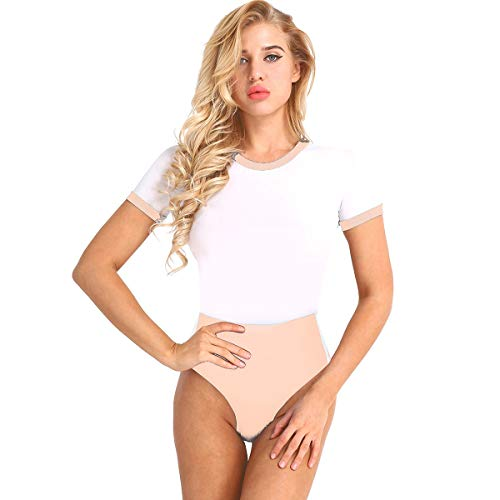 ACSUSS Women 2 Pieces Lingerie Set Schoolgirls Cosplay Sailor Swimsuit Costumes Apricot Pink One Size ()