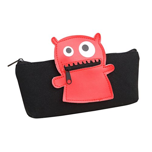 Iuhan Cute Cartoon Large Storage Pencil Case Holder Little Monster Pouch Canvas Bag Stationery Organizer (A, Black, 1)