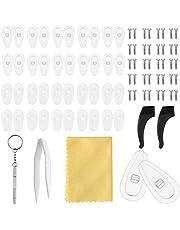 NATUCE 20 paar Eyewear neuskussens, luchtkamer neusbeschermers siliconen, anti-slip lenzenvloeistof neuskussens, lenzenvloeistof, lenzenvloeistof reparatieset, schroeven pincet en reinigingsdoek voor brillenzonnebril