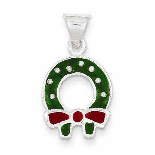 Enameled Christmas Wreath (Solid 925 Sterling Silver Pendant Enameled Christmas Wreath Charm (20mm x 12mm))