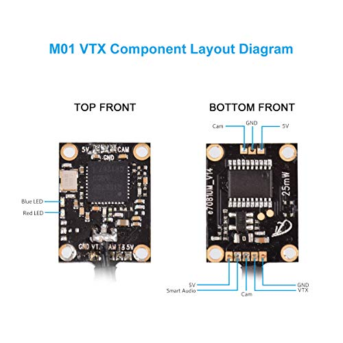 BETAFPV M01 AIO Camera 5.8GHz VTX Transmitter 800TVL NTSC Support OSD SmartAudio for 1-2S Whoop Drone like Beta65S Beta85 Pro 2(Pin-Connected Version)