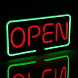 "LED Neon Light OPEN Sign, 19.7"" x 9.8"", Bright Neon Style, Red & Green Letter Rectangle Window Displaying Light with Hanging Chains, Bar, Restaurant, Store, Salon, Gas Station, Motel, Door"