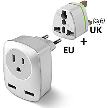 White+Gray 2 x 15A Outlet Adapters for US to Europe EU Italy Spain Iceland- Universal International Power Travel Plug Adapter Converter with 2 USB Wall Charger RXSQUL European Travel Plug Adapter