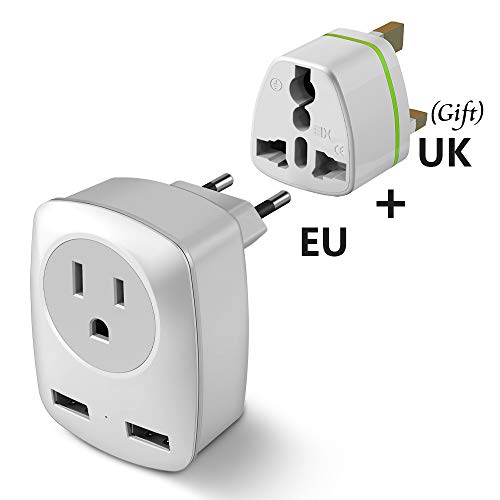 European Travel Plug Adapter, Europe & UK Power Outlet Converter for England Ireland Italy France German Greece Iceland - International Electric Adaptor USB Wall Charger for iPhone iPad Laptop