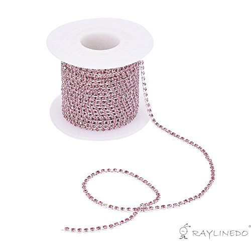 RayLineDo 3A Class 2mm Light Pink Rhinestone Diamante Silver Plated Chain 10 Yard Lenght for Wedding Supplies DIY Sewing Craft Jewellery Making Party Decorations