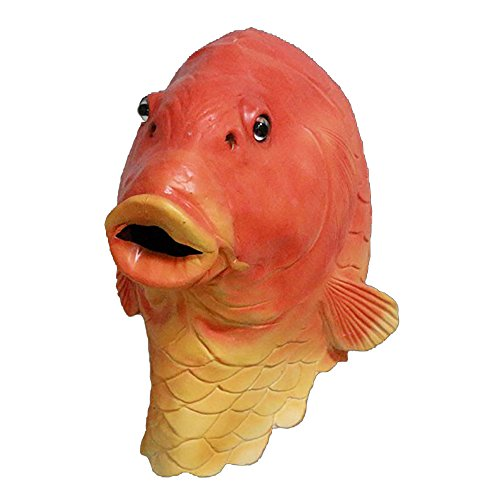 - Funny Fish Latex Full Head Mask Party Animal Goldfish Mask Fancy Dress Costume, Halloween Toys Red