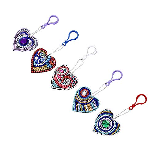 Key Fob 5PCS, Keychain Diamond Painting Key Chain Key Holder Ring Keyring Keyfob Full Drill Diamond 5D DIY Needlework Handcraft Cross Stitch Cartoon Gift for Kids Adults Girls (Multicolor)
