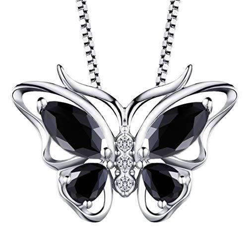Aurora Tears Black Butterfly Necklaces Women 925 Sterling Silver Crystal Animal Pendants Cubic Zirconia Animal Girls Gift Wedding/Anniversary Jewelry - Pendant Butterfly Black