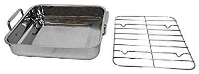 "Gourmet Catalog Product 18"" Tri-Ply Stainless Steel Roasting Pan and Rack"