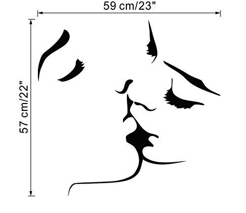 Ecloud Shop AMANTE romá ntica pareja besá ndose pared Pared pegatinas de pared extraí ble PVC Sticker Decoració n etiquetas de la pared de papel para sala de estar