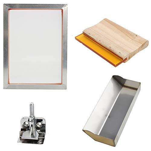 SODIAL 5Pcs/Set Screen Printing Kit Aluminum Frame + Hinge Clamp + Emulsion Scoop Coater + Squeegee Screen Printing Tool Parts (Best Emulsion For Screen Printing)