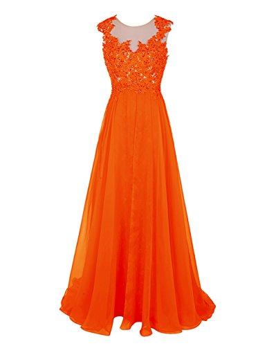 Atractivo Largo Vestido Fiesta Bbonlinedress Naranja Elegante De Gasa Bq7SgxX