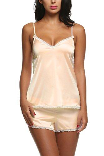 Ekouaer Camisole Womens Nightwear Set Short Sexy PJ Silk Lace Trim Pajama (Beige, (Sexy Rhinestone Trim)