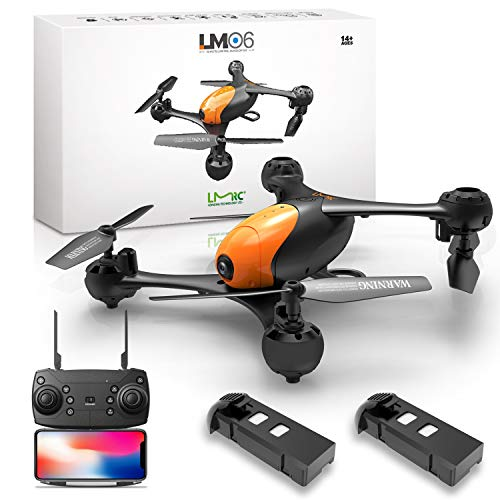 LMRC LM06 FPV Drone with 1080P HD Camera for Adults and Kids, 2 Modular Batteries,RC Quadcopter Drones,Double Camera…