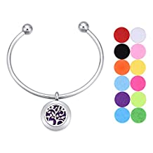 Essential Oil Diffuser Bracelet Tree of Life Fragrance Locket Ball Cuff Bangle with 12 Felt Pads
