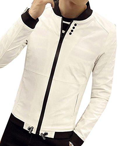 XQS Men Fashion Korean Slim Jacket Coat White L