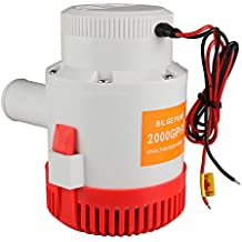 Bang4buck 2000 GPH Electric Bilge Pump 12v 12A Water Pump for Marine Boat Pools Ponds- Manual Attached (2000 Gallon Per Hour)