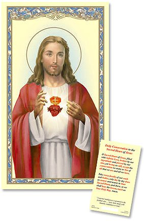 (Sacred Heart Laminated Holy Card, Pack of 25)