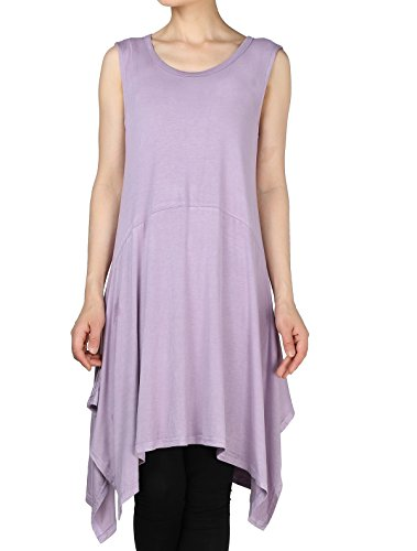 Mordenmiss Women's New Half Sleeve High Low Loose Tunic Tops (XXL, Sleeveless-Purple) ()