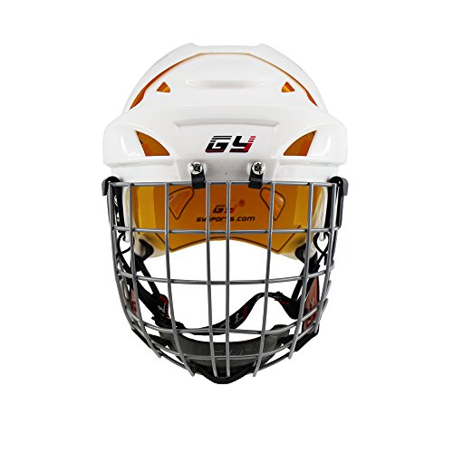 GY 2017 Improving Perfect Version Ice Hockey Helmet Steel Mask Equipment with Cage Combo Mix Size and White Color (White, L) - In Line Hockey Helmets