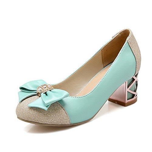 AllhqFashion Damen Blend-Materialien Eingelegt Ziehen auf Rund Zehe Mittler Absatz Pumps Schuhe Blau