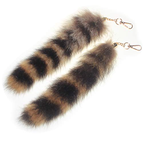 2 pcs 10inches Authentic Raccoon Tail Fur Skin Halloween Party Cosplay Toy Handbag Accessories Key Chain Ring Hook -