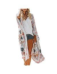 Sumen Womens Chiffon Shawl Print Kimono Cardigan Top Cover Up Blouse Beachwear