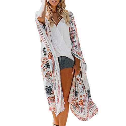 Womens Chiffon Shawl, Fashion Print Kimono Cardigan Top Cover Up Plus Size Lightweight Blouse Beachwear ❤️Sumeimiya White ()