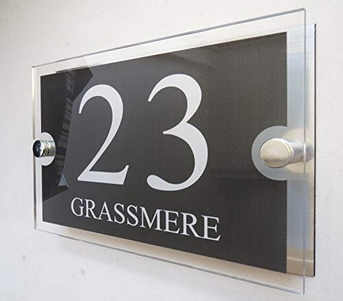 - House Number Plaques Glass Effect Acrylic Signs Door Plates Name Wall Display