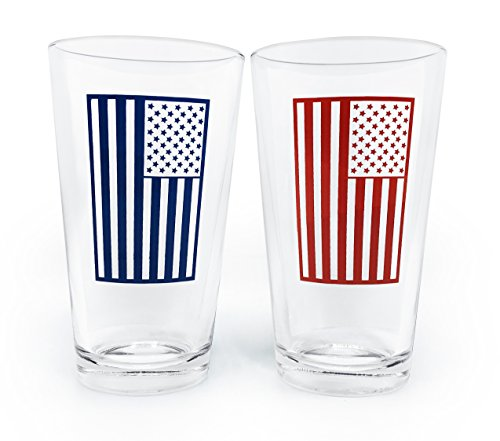Pint Beer Glass 16oz Set of 2 Red & Blue 2-Pack Pub Mixing with American Flag - Find How To Your Glasses Face Shape For