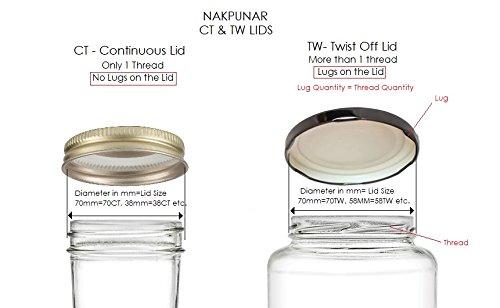 Nakpunar 24 pcs 89TW Gold Canning Jar Lids - BPA Free Plastisol Lined, 89 mm, Made in USA by Nakpunar (Image #2)'