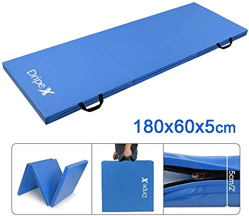 Dripex Folding Gymnastics Exercise Mat – 6FT/8FT Home Gym Mats with Carry Strap 5cm(2'') Thick Foam Nonslip Soft PU…